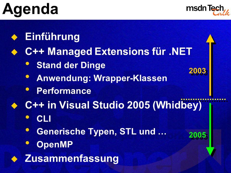 Agenda Einführung C++ Managed Extensions für .NET