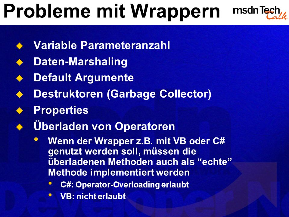 Probleme mit Wrappern Variable Parameteranzahl Daten-Marshaling