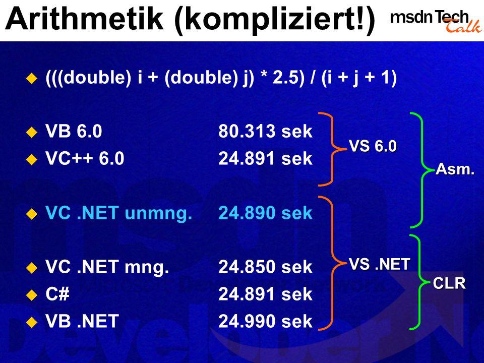 Arithmetik (kompliziert!)