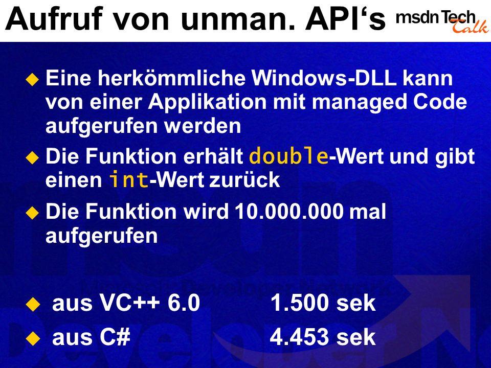 Aufruf von unman. API's aus VC++ 6.0 1.500 sek aus C# 4.453 sek