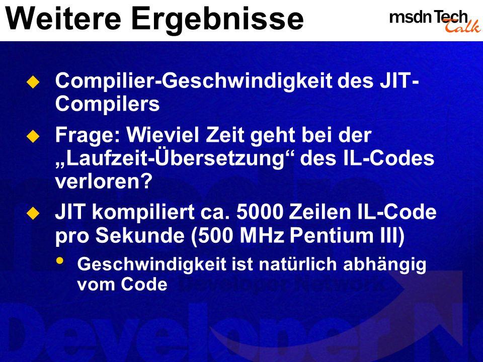 Weitere Ergebnisse Compilier-Geschwindigkeit des JIT-Compilers