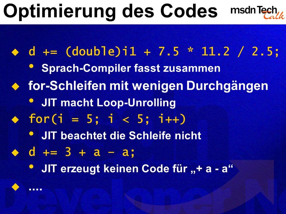 Optimierung des Codes for-Schleifen mit wenigen Durchgängen ....
