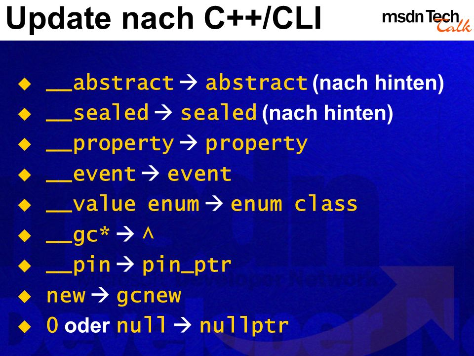 Update nach C++/CLI __abstract  abstract (nach hinten)