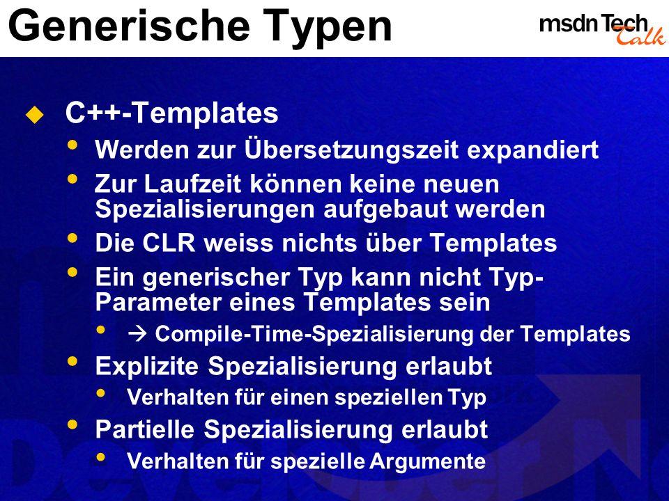 Generische Typen C++-Templates Werden zur Übersetzungszeit expandiert
