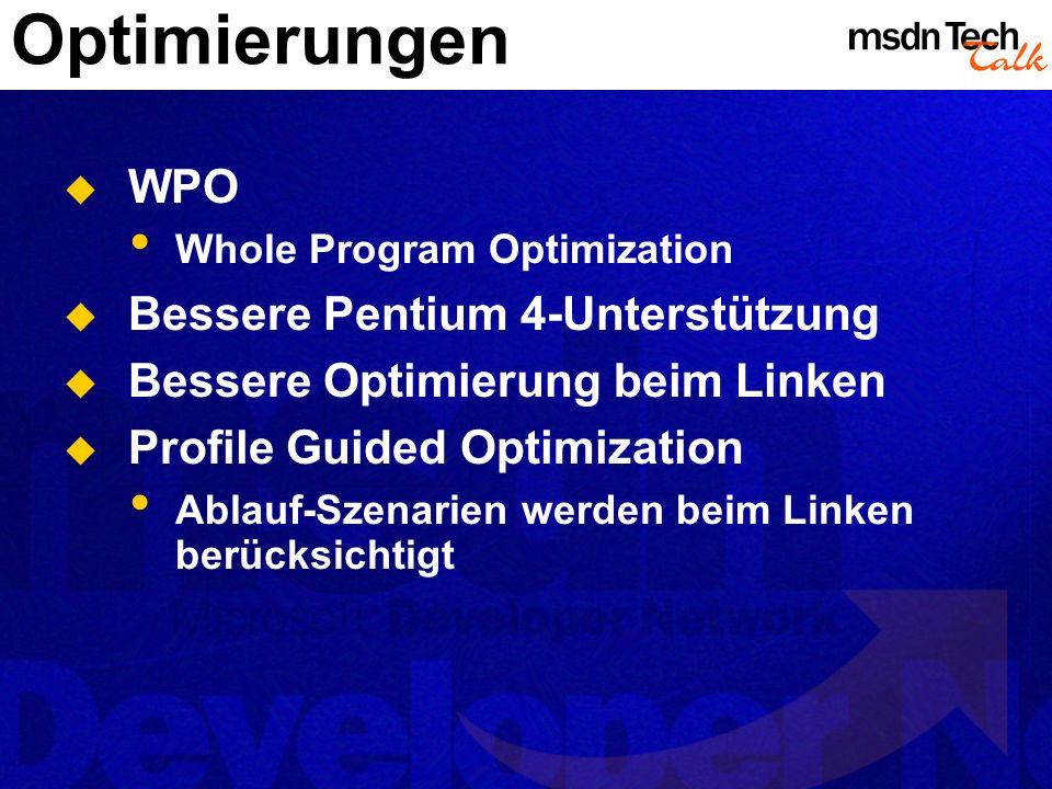 Optimierungen WPO Bessere Pentium 4-Unterstützung