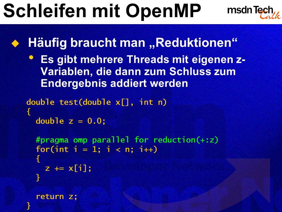 """Schleifen mit OpenMP Häufig braucht man """"Reduktionen"""