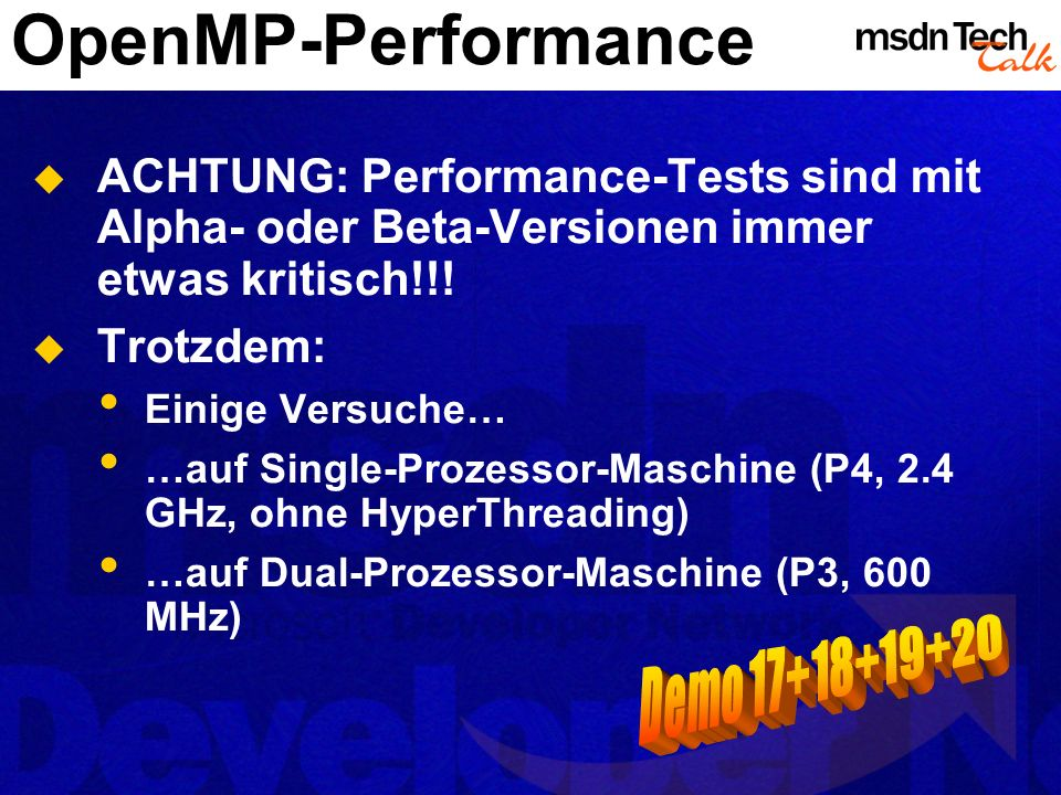 OpenMP-Performance Demo 17+18+19+20