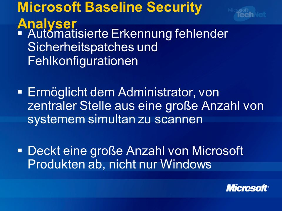 Microsoft Baseline Security Analyser