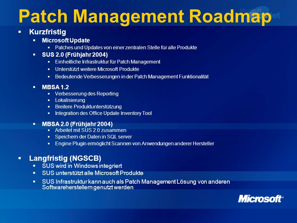 Patch Management Roadmap