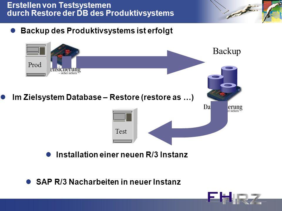 Erstellen von Testsystemen durch Restore der DB des Produktivsystems