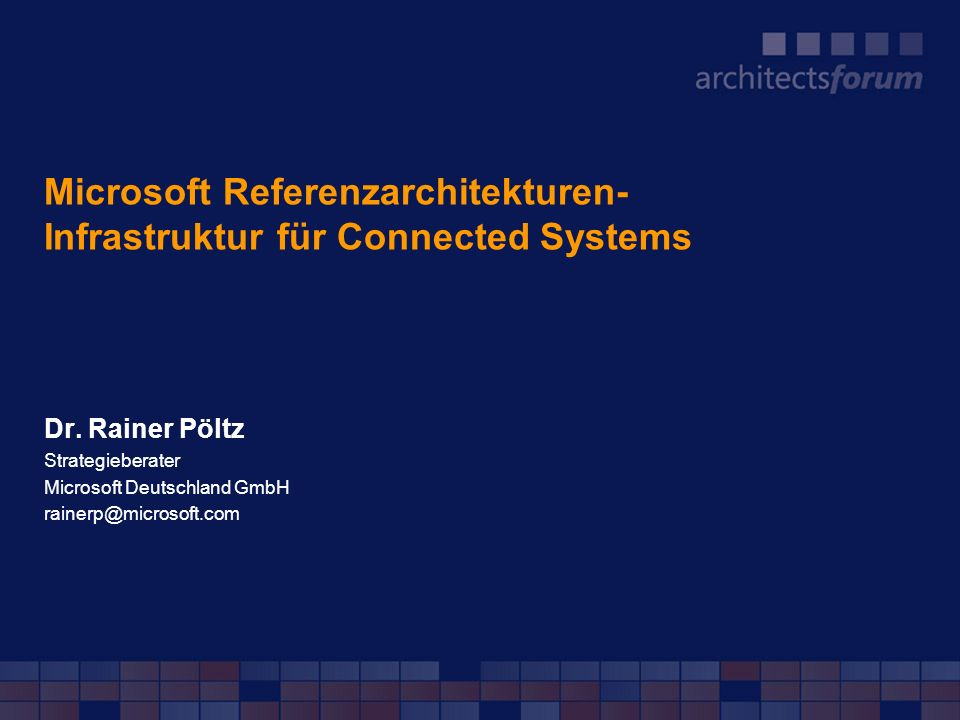 Microsoft Referenzarchitekturen- Infrastruktur für Connected Systems
