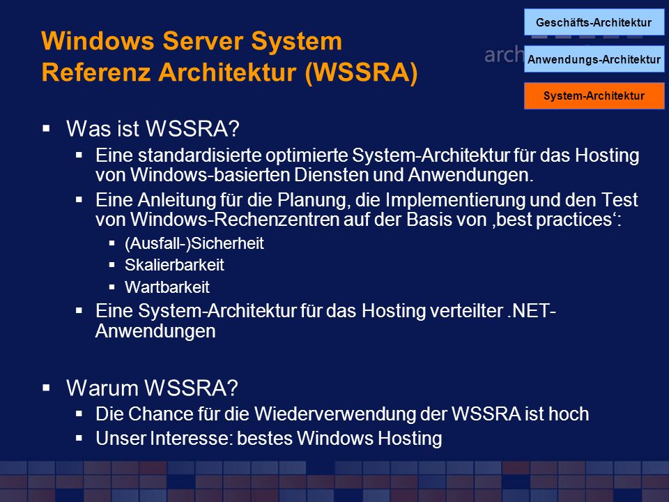 Windows Server System Referenz Architektur (WSSRA)