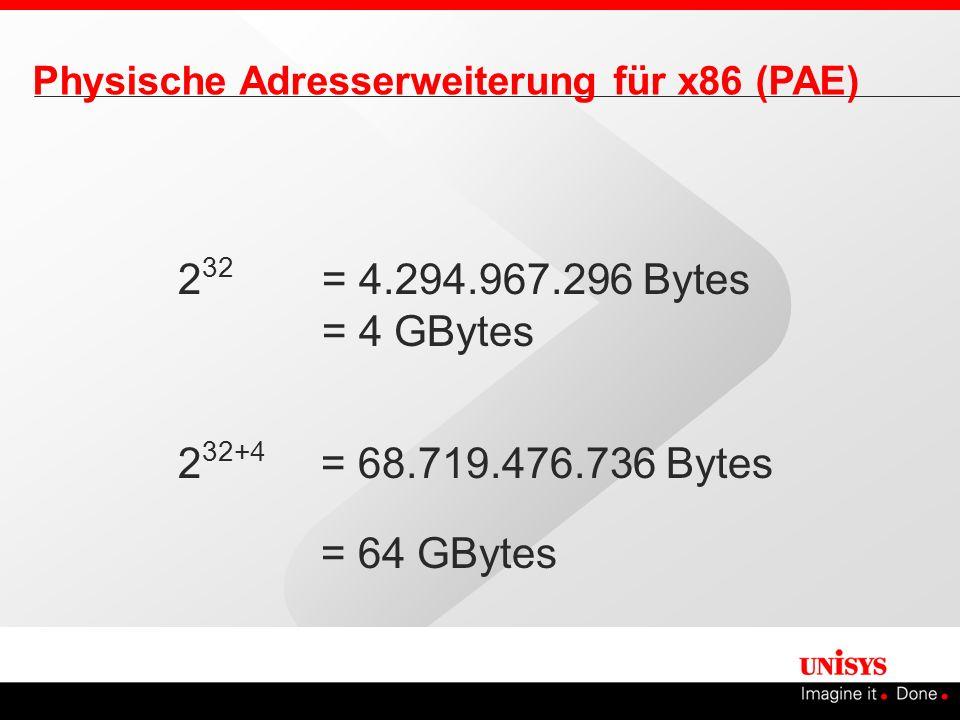 232 = 4.294.967.296 Bytes = 4 GBytes 232+4 = 68.719.476.736 Bytes