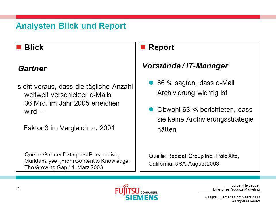 Analysten Blick und Report
