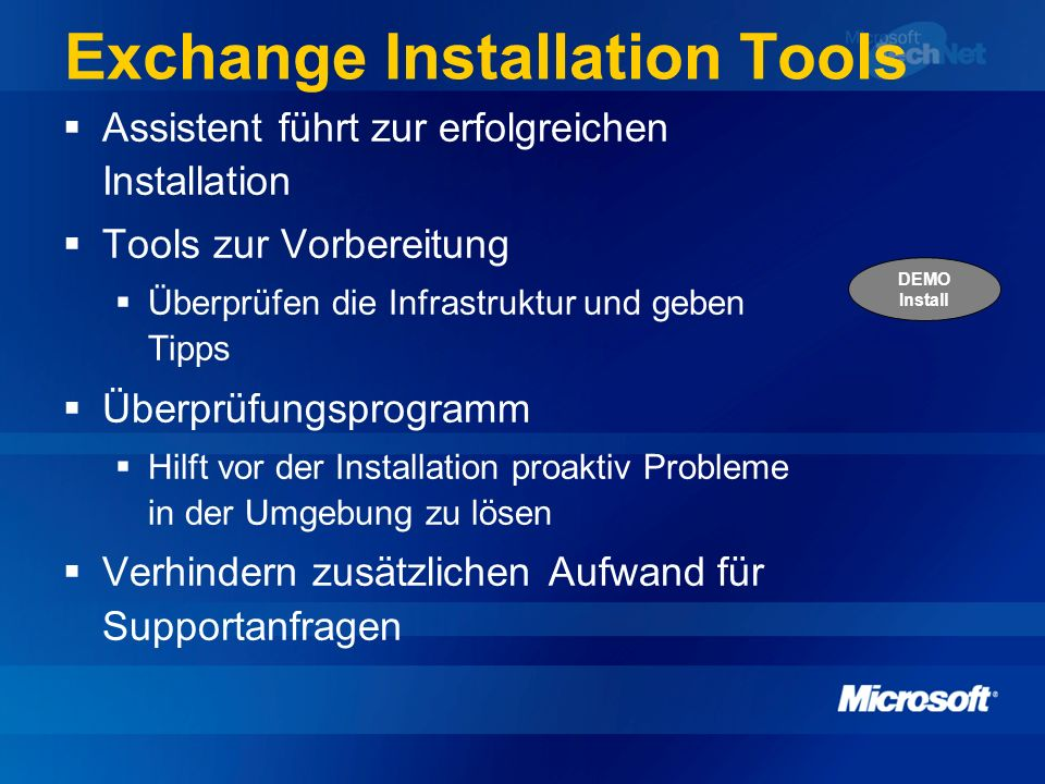 Exchange Installation Tools
