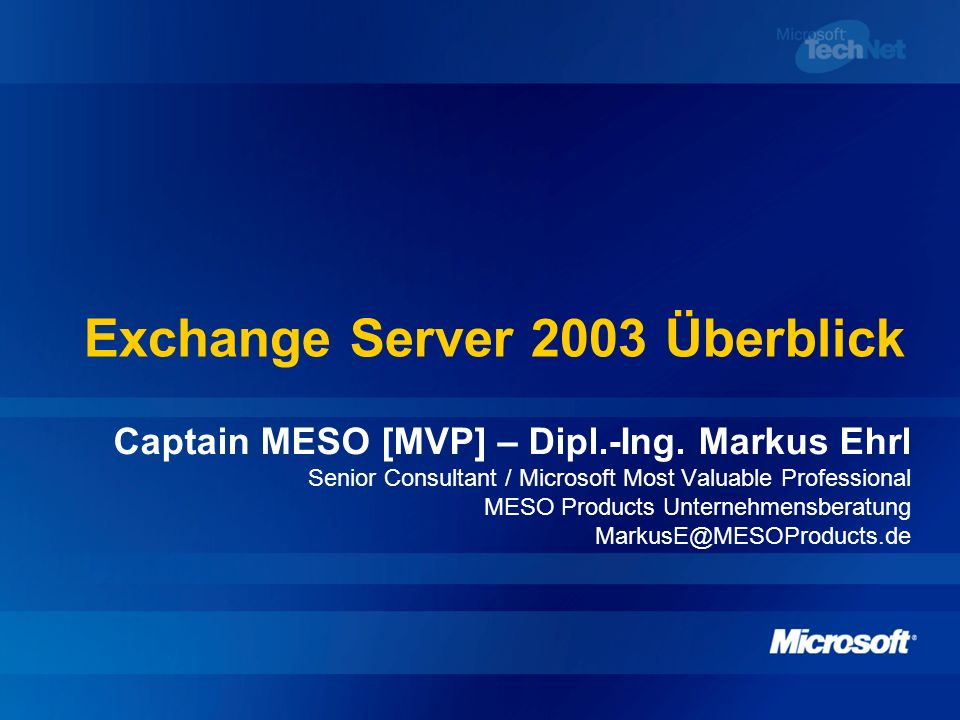 Exchange Server 2003 Überblick