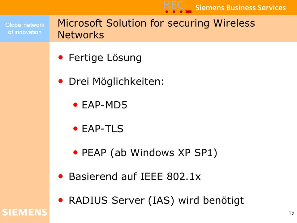 Microsoft Solution for securing Wireless Networks