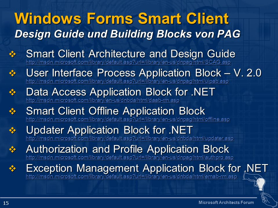 Windows Forms Smart Client Design Guide und Building Blocks von PAG