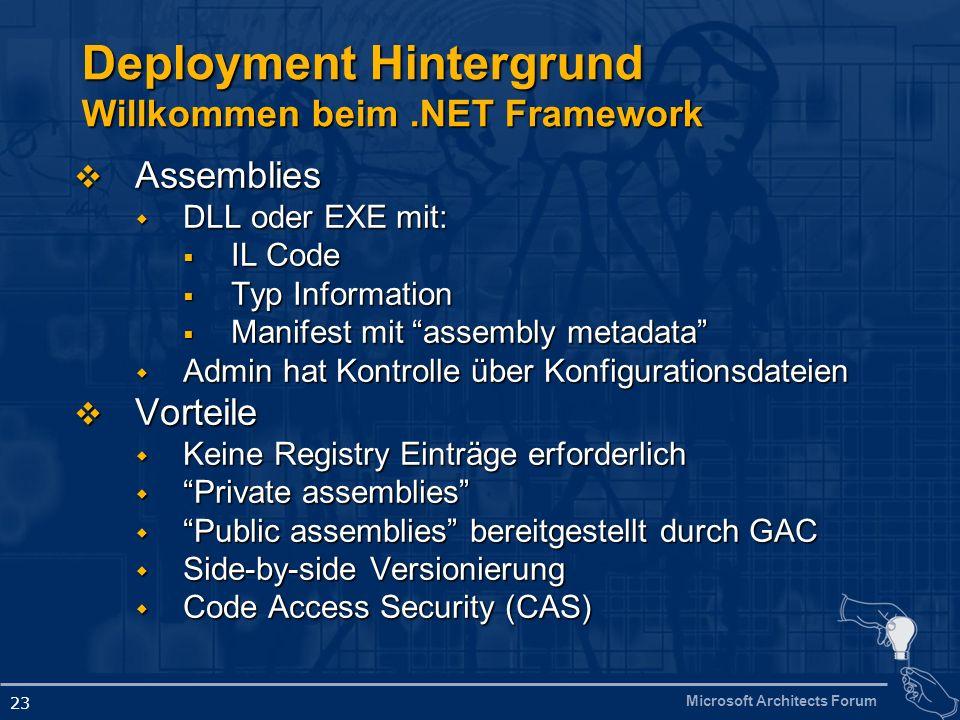 Deployment Hintergrund Willkommen beim .NET Framework