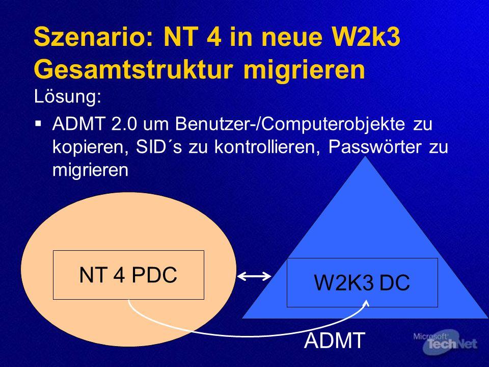 Szenario: NT 4 in neue W2k3 Gesamtstruktur migrieren