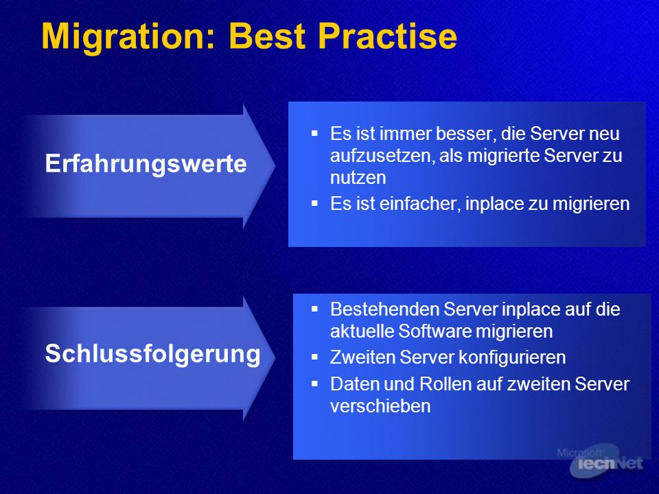 Migration: Best Practise