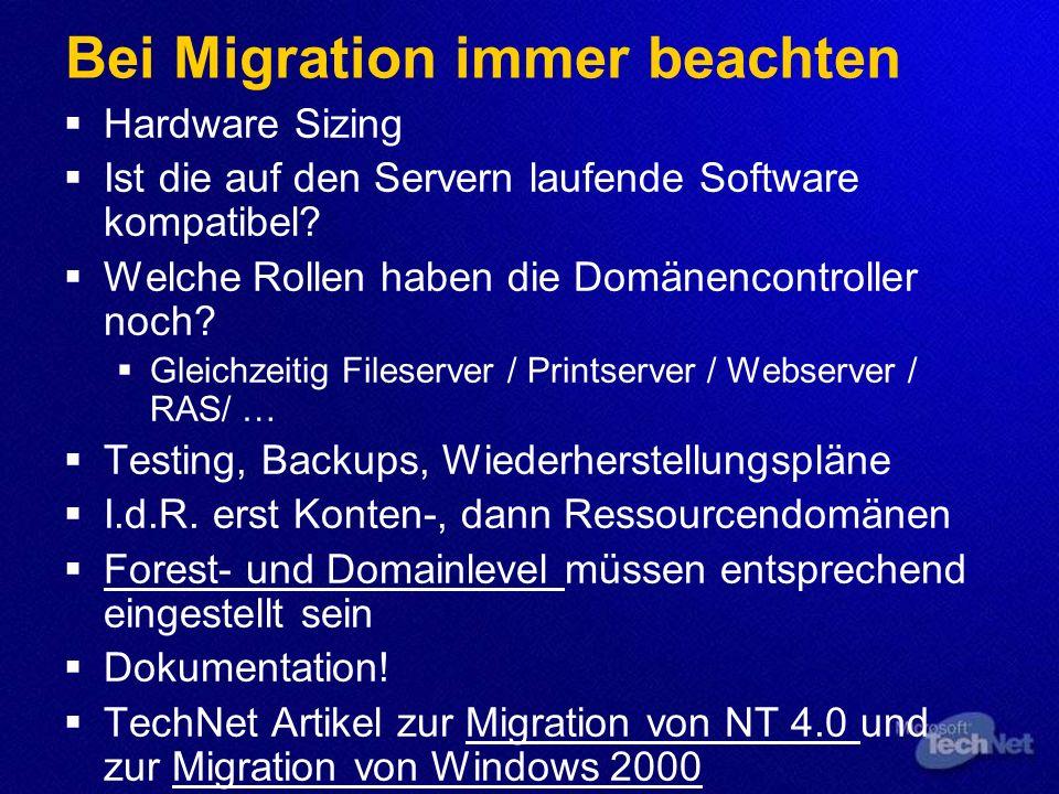 Bei Migration immer beachten