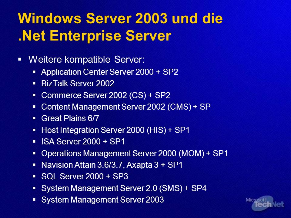 Windows Server 2003 und die .Net Enterprise Server