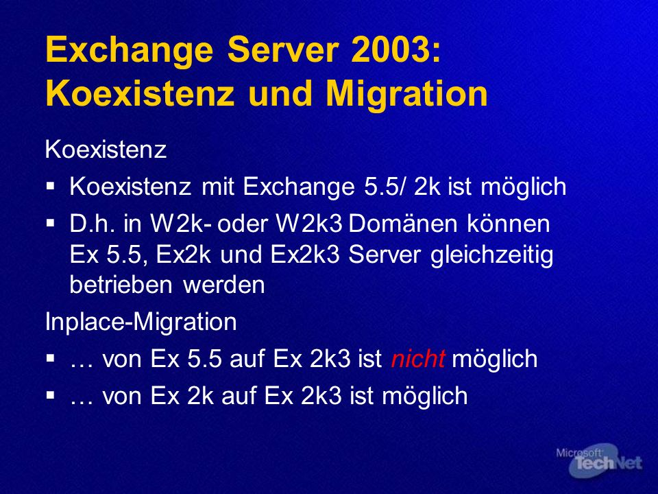 Exchange Server 2003: Koexistenz und Migration
