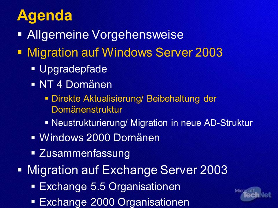 Migration von Domänencontrollern und Exchange Servern