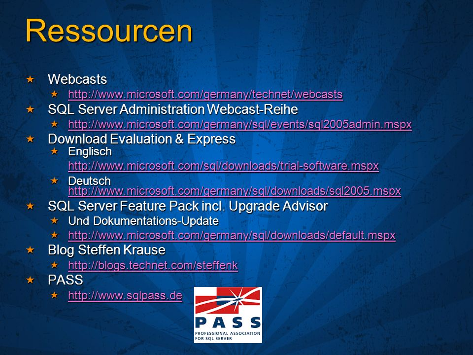 Ressourcen Webcasts SQL Server Administration Webcast-Reihe