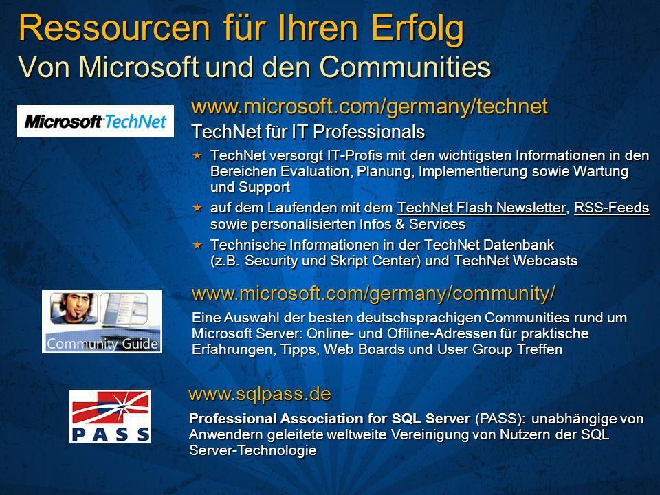Ressourcen für Ihren Erfolg Von Microsoft und den Communities