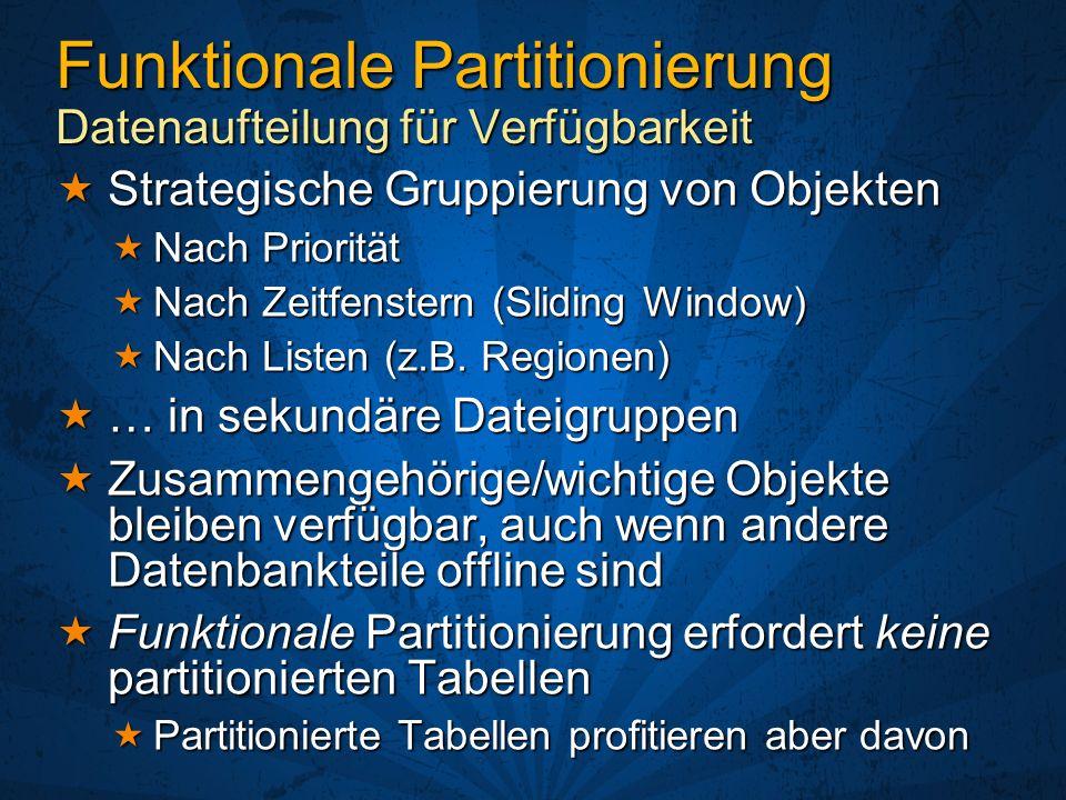 Funktionale Partitionierung Datenaufteilung für Verfügbarkeit