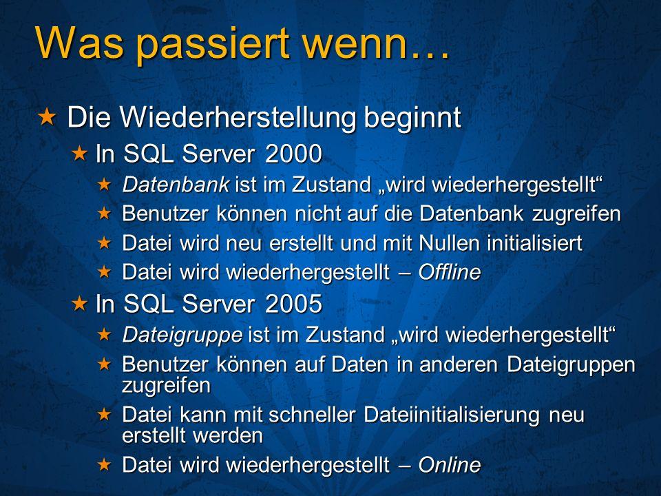 Was passiert wenn… Die Wiederherstellung beginnt In SQL Server 2000