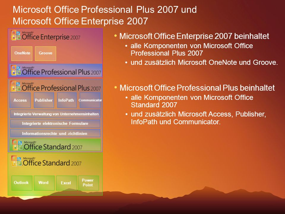 :04 Microsoft Office Professional Plus 2007 und Microsoft Office Enterprise OneNote.