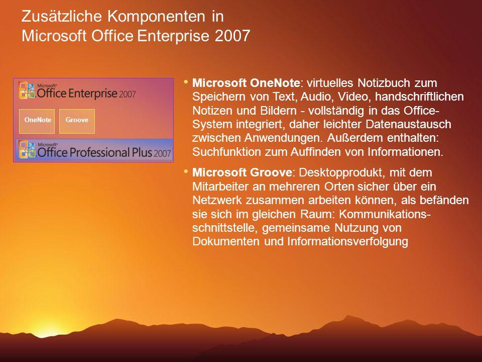 Zusätzliche Komponenten in Microsoft Office Enterprise 2007