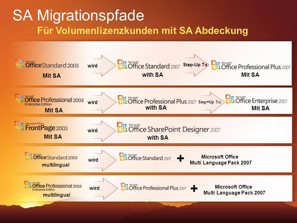 SA Migrationspfade + + Für Volumenlizenzkunden mit SA Abdeckung wird