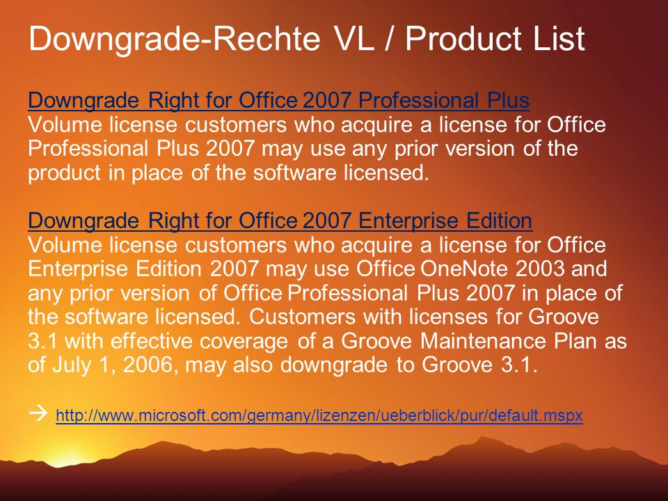 Downgrade-Rechte VL / Product List