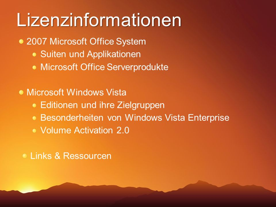 Lizenzinformationen 2007 Microsoft Office System