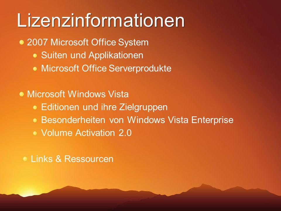 Lizenzinformationen 2007 Microsoft Office System