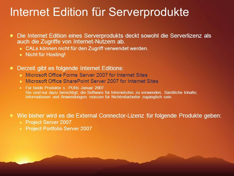Internet Edition für Serverprodukte