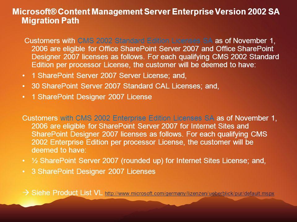 Microsoft® Content Management Server Enterprise Version 2002 SA Migration Path