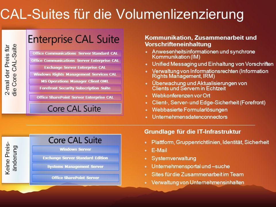 CAL-Suites für die Volumenlizenzierung