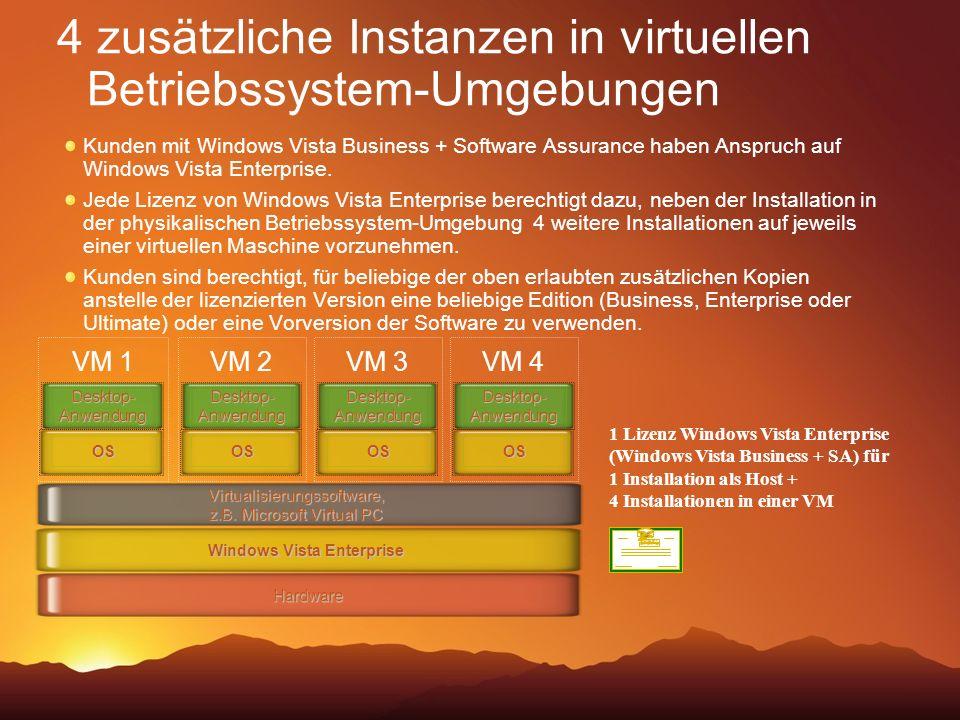 4 zusätzliche Instanzen in virtuellen Betriebssystem-Umgebungen