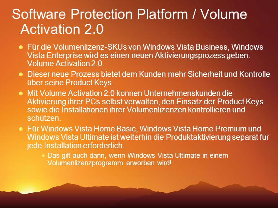 Software Protection Platform / Volume Activation 2.0