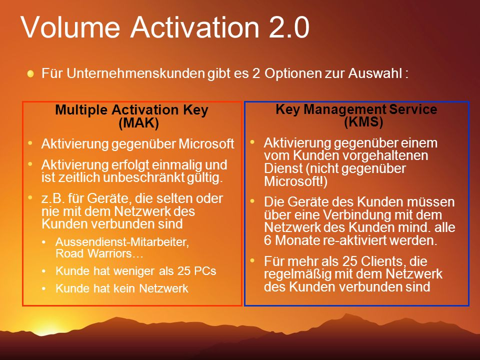 Multiple Activation Key (MAK) Key Management Service (KMS)