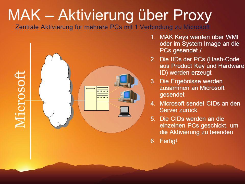 MAK – Aktivierung über Proxy Zentrale Aktivierung für mehrere PCs mit 1 Verbindung zu Microsoft