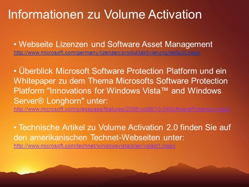 Informationen zu Volume Activation