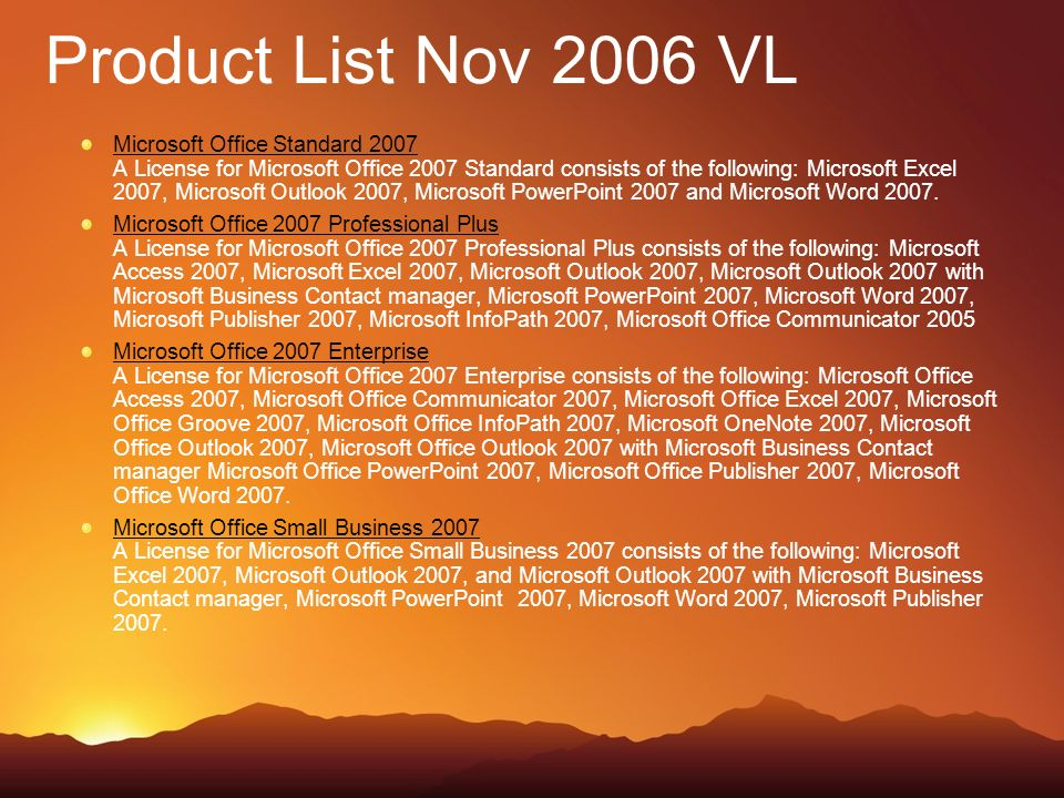 Product List Nov 2006 VL