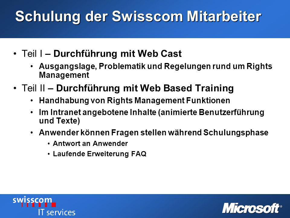 Schulung der Swisscom Mitarbeiter