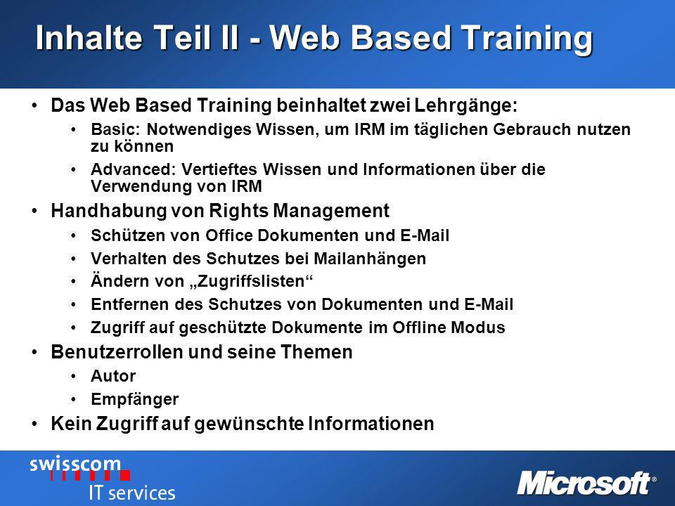Inhalte Teil II - Web Based Training